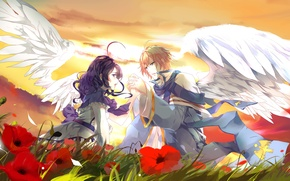 Wallpaper girl, sunset, flowers, glade, wings, guy, Two, lovers, art, aiki-ame