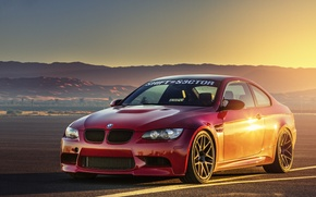 Picture sunset, BMW, BMW, red, red, front, E92, runway
