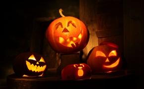 Wallpaper pumpkin, Halloween, Halloween, mask, candles