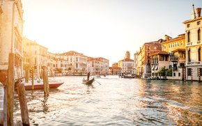 Picture the sun, home, boats, Italy, Venice, channel, water
