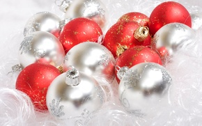 Wallpaper white, balls, red, holiday, new year
