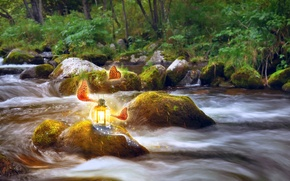 Picture light, art, nature, trees, moss, Larisa Koshkina, water, greens, butterfly, stream, lantern, stones