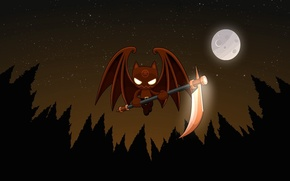Wallpaper the moon, vampire, vector, night, braid, bat
