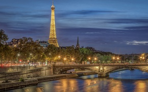 Wallpaper bridge, river, France, Paris, Eiffel tower, Paris, night city, promenade, France, Eiffel Tower, His River, ...