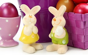 Picture smile, holiday, basket, eggs, Easter, rabbits, Easter