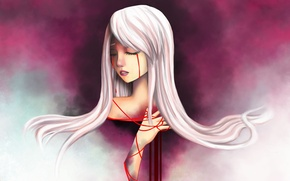 Picture girl, tape, red, art, tears, white hair