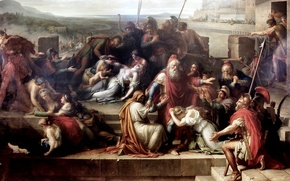 Picture battle of Achilles and Hector, The consternation of the family of Priam, Etienne Barthelemy Garnier