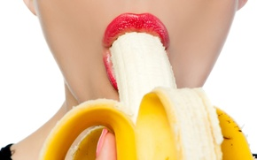 Picture woman, fruit, lips, banana