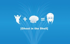 Picture girl, sign, shell, blue background, Ghost in the Shell, plus, Ghost in the shell, anyway