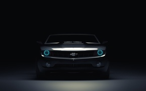 Picture Chevrolet, Muscle, Light, Camaro, Lights, Car, Blue, Front, Blue, Before, Kar, Oil, 3D Graphics, by ...