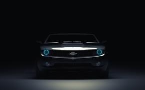 Wallpaper Chevrolet, Muscle, Light, Camaro, Lights, Car, Blue, Front, Blue, Before, Kar, Oil, 3D Graphics, by ...