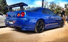Picture blue, tuning, nissan, skyline, Nissan, blue, r34, JDM