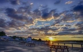 Picture the sun, clouds, river, morning, promenade