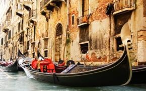 Picture Windows, building, channel, architecture, Venice, Italy, gondola, Venice, balcony