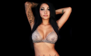 Picture Brunette, Tattoo, Dimples, Brittanya, Chain Mail