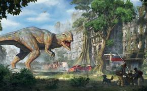 Picture the city, people, fiction, dinosaur, art, ruins, T-Rex, Tyrannosaurus, rex
