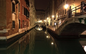 Picture night, channel, Venice, Italy