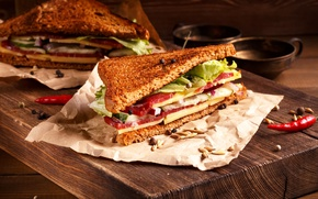Picture leaves, bread, pepper, sandwich, sausage, sandwich, bacon, salad, bread, cheese, ham, pepper, sausage, bacon