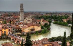Picture building, Italy, panorama, promenade, Italy, Verona, Verona, Adige River, The Ponte Pietra, Ponte Pietra Bridge, …