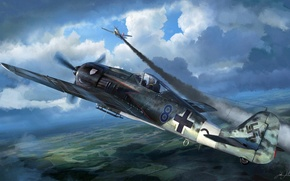 Picture the plane, figure, fighter, the Germans, Focke Wulf, Fw 190, Luftwaffe