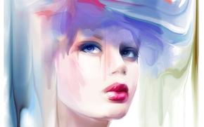 Wallpaper make up, look, makeup, red lips, girl, Tatiana Nikitina