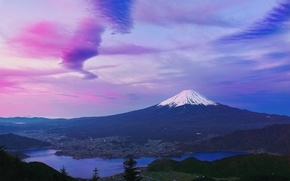 Wallpaper mountain, spring, morning, Japan, April, Fuji, stratovolcano, Mount Fuji, the island of Honshu