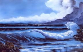 Picture sea, beach, the sky, water, clouds, stones, rocks, shore, wave, picture, painting, Bob Ross, Secluded …