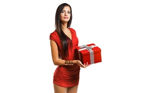 Picture look, girl, box, gift, brown hair, bracelets, long-haired