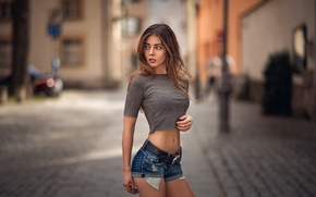 Picture look, girl, face, city, sweetheart, portrait, colors, makeup, t-shirt, light, brown hair, beautiful, strap, hip, …
