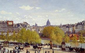 Wallpaper Claude Monet, impressionism, 1867, oil painting, artist, art, Claude Monet, Quai du Louvre