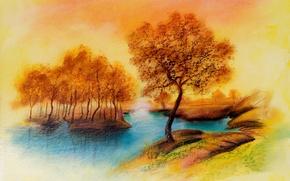 Picture autumn, trees, landscape, river, figure, peace