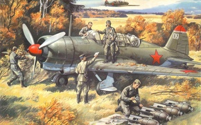 Picture autumn, the plane, easy, art, USSR, bomber, BBC, WWII, scout, training, Soviet, WW2., departure, Su-2, …