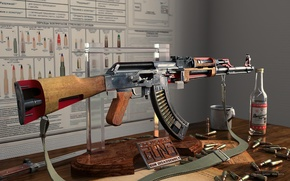 Picture rendering, weapons, the cut, poster, machine, mug, cartridges, vodka, AK 47, Kalashnikov Cutaway, Alexander Iartsev