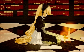 Picture reflection, flame, books, candles, girl, library, long hair, candle holder, Gosick, Victorique de Blois, chess …