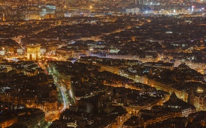 Wallpaper night, lights, France, Paris, home, panorama, arch