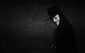 Picture smile, wall, mask, black-and-white background, V for Vendetta, Anonymous, V for vendetta