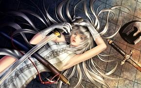 Picture girl, hair, sword, katana, art, gloves, helmet, on the floor, cord, yuki hayabusa