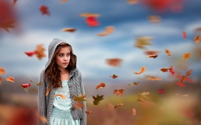 Picture autumn, leaves, the wind, girl, Flurry