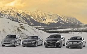 Picture snow, mountains, mercedes-benz, Mercedes, mixed, lineup, C-class, R-class, GLK-class, CL-class