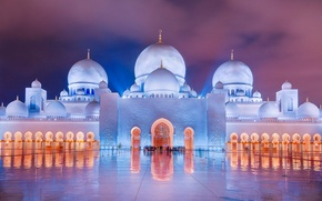 Picture the evening, lighting, mosque, UAE, dome, The Sheikh Zayed Grand mosque, Abu Dhabi, Islam, Abu-Dhabi