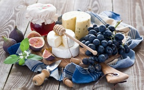 Picture cheese, grapes, still life, honey, figs