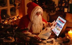 Wallpaper winter, holiday, tree, Santa Claus, Santa Claus