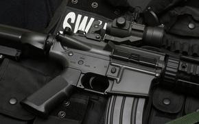 Wallpaper weapons, vest, SWAT, machine, rifle