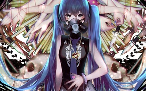 Picture girl, anime, mask, art, vocaloid, Vocaloid