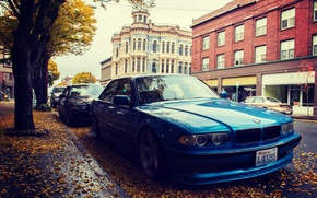 Picture side, bmw, BMW, leaves, street, e38, 750il, autumn