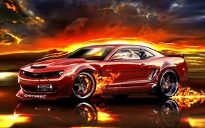 Picture red, speed, Camaro, road, car, fire