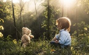 Picture light, boy, bear