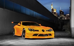 Picture the sky, orange, skyscrapers, 722, Mercedes Benz, orange, SLR McLaren, wing, Mercedes Benz, SLR McLaren