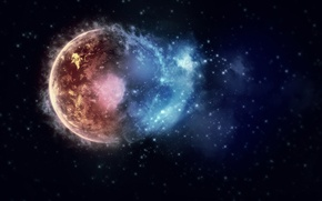 Picture space, stars, the explosion, lights, lights, paint, planet, colors, space, stars, planets, 2560x1600, burst