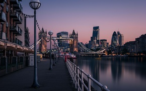 Picture morning, sunrise, dawn, Tower Bridge, London, England, Thames River, cityscape, urban scene